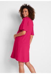 Sukienka ciążowa z bawełny organicznej bonprix różowy. Kolekcja: moda ciążowa. Kolor: różowy. Materiał: bawełna