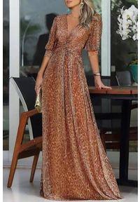 Wielokolorowa długa sukienka IVET elegancka, z motywem zwierzęcym