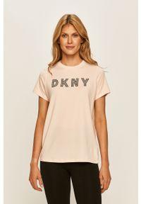 Pomarańczowa bluzka DKNY na co dzień, casualowa, z okrągłym kołnierzem