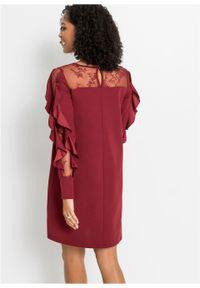 Czerwona sukienka bonprix prosta, w koronkowe wzory
