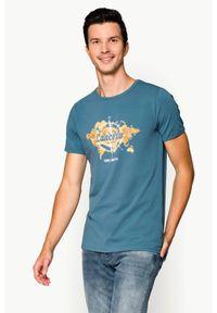 Lancerto - Koszulka Szara Juan. Okazja: na co dzień. Kolor: szary. Materiał: elastan, jeans, materiał, bawełna. Wzór: nadruk, aplikacja. Sezon: wiosna, lato. Styl: klasyczny, casual