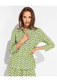 MALIPARMI - Zielona wzorzysta koszula. Okazja: do pracy, na co dzień, na spotkanie biznesowe. Kolor: zielony. Materiał: tkanina, wiskoza, materiał, elastan. Styl: klasyczny, casual, elegancki, biznesowy