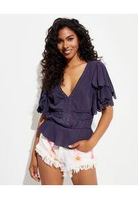 ISABEL MARANT - Krótka bluzka z falbanami Lemila. Kolor: niebieski. Długość: krótkie. Wzór: aplikacja