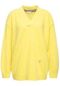 TOMMY HILFIGER - Tommy Hilfiger Sweter Candace WW0WW27017 Żółty Oversize. Kolor: żółty
