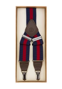 Lancerto - Szelki w Granatowo-Czerwone Pasy. Kolor: niebieski, czerwony, wielokolorowy. Materiał: syntetyk, skóra, materiał, elastan