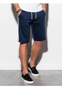 Ombre Clothing - Krótkie spodenki męskie dresowe W241 - granatowe - XL. Kolor: niebieski. Materiał: dresówka. Długość: krótkie