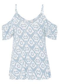 Shirt cold-shoulder LENZING™ ECOVERO™ bonprix pudrowy niebieski - biały w deseń paisley. Kolor: fioletowy. Długość rękawa: na ramiączkach. Wzór: paisley