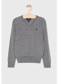 Szary sweter Polo Ralph Lauren na co dzień, casualowy, polo