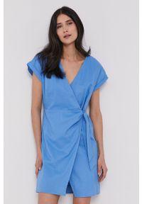 Pepe Jeans - Sukienka Lolita. Kolor: niebieski. Materiał: tkanina. Długość rękawa: krótki rękaw. Wzór: gładki