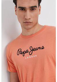 Pepe Jeans - T-shirt bawełniany Eggo. Kolor: pomarańczowy. Materiał: bawełna. Wzór: nadruk