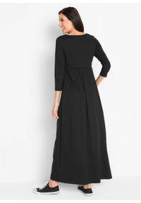 Sukienka shirtowa, rękawy 3/4 bonprix czarny. Kolor: czarny. Długość: maxi