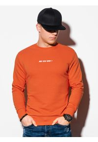 Pomarańczowa bluza Ombre Clothing bez kaptura, z nadrukiem