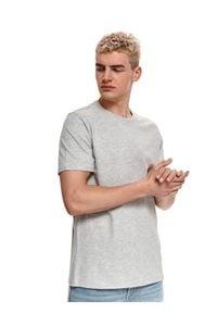 TOP SECRET - T-shirt z bawełny organicznej. Kolor: szary. Materiał: bawełna. Długość rękawa: krótki rękaw. Długość: krótkie. Sezon: wiosna, lato. Styl: klasyczny, wakacyjny
