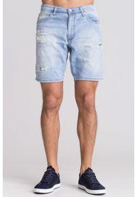 Niebieskie szorty Versace Jeans z aplikacjami