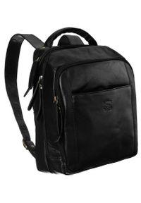 ALWAYS WILD - Plecak męski czarny Always Wild 4055-S-PDM BLACK. Kolor: czarny. Materiał: skóra. Styl: klasyczny