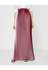 ICON - Plisowana spódnica maxi Le Pli. Stan: podwyższony. Kolor: czerwony. Materiał: materiał, koronka