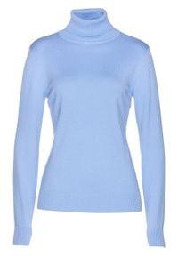 Niebieski sweter bonprix z długim rękawem, długi, z golfem