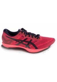 Czerwone buty do biegania Asics w kolorowe wzory, z cholewką