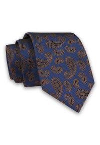 Alties - Niebiesko-Brązowy Elegancki Męski Krawat -ALTIES- 7cm, Stylowy, Klasyczny, Wzór Paisley, Łezki. Kolor: niebieski, beżowy, brązowy, wielokolorowy. Materiał: tkanina. Wzór: paisley. Styl: klasyczny, elegancki