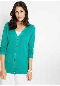 Sweter rozpinany w ażurowy wzór bonprix szmaragdowy. Kolor: zielony. Wzór: ażurowy #5