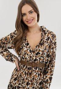 Born2be - Brązowa Sukienka Grasshair. Kolor: brązowy. Długość rękawa: długi rękaw. Typ sukienki: kopertowe. Długość: midi