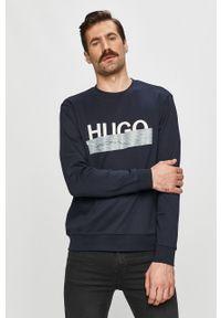 Niebieska bluza nierozpinana Hugo na co dzień, bez kaptura, z nadrukiem, casualowa