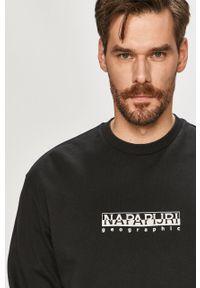 Czarna bluza nierozpinana Napapijri z nadrukiem, casualowa, bez kaptura, na co dzień