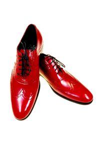 Faber - Czerwone męskie buty wizytowe - brogsy F4 T46. Kolor: czerwony. Materiał: skóra. Styl: wizytowy