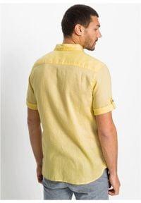 Koszula z lnem, krótki rękaw bonprix jasnożółty z nadrukiem. Kolor: żółty. Materiał: len. Długość rękawa: krótki rękaw. Długość: krótkie. Wzór: nadruk. Styl: wakacyjny #7
