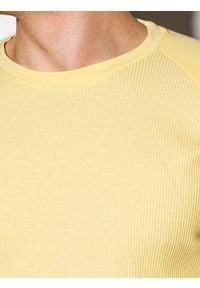 Ombre Clothing - Longsleeve męski bez nadruku L119 - żółty - XXL. Kolor: żółty. Materiał: tkanina, bawełna, poliester. Długość rękawa: długi rękaw