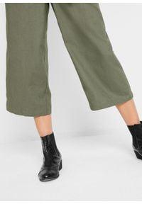Kombinezon lniany z guzikami, szerokie nogawki bonprix oliwkowy. Kolor: zielony. Materiał: len
