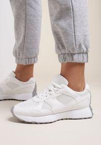 Renee - Białe Sneakersy Petirose. Kolor: biały. Materiał: nubuk, syntetyk