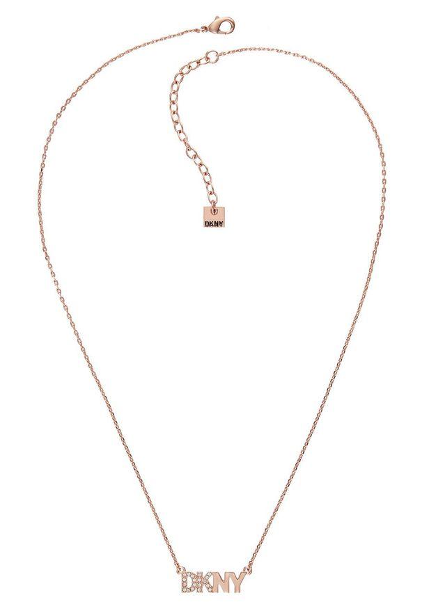 Złoty naszyjnik DKNY metalowy, z kryształem