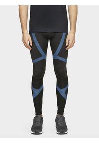 Czarne legginsy sportowe 4f do biegania, z nadrukiem