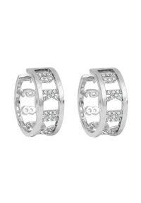 Srebrne kolczyki DKNY z aplikacjami, z kryształem, metalowe