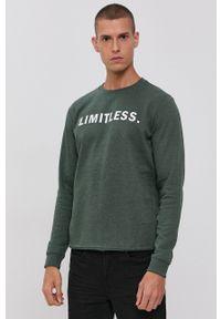 !SOLID - Bluza. Okazja: na co dzień. Kolor: zielony. Materiał: bawełna, dzianina. Wzór: nadruk. Styl: casual