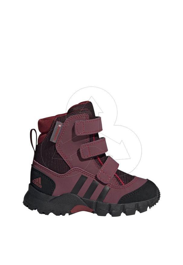 Czerwone buty trekkingowe Adidas w kolorowe wzory, na rzepy