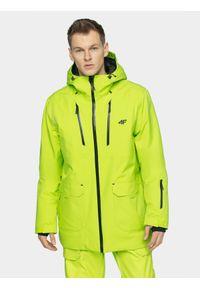 4f - Kurtka snowboardowa męska. Typ kołnierza: kaptur. Kolor: zielony. Materiał: mesh, materiał. Sezon: zima. Sport: snowboard