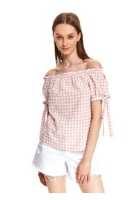 TOP SECRET - Bluzka z odkrytymi ramionami w kratkę vichy. Kolor: różowy. Materiał: tkanina, bawełna. Długość: krótkie. Wzór: kratka. Sezon: lato. Styl: wakacyjny