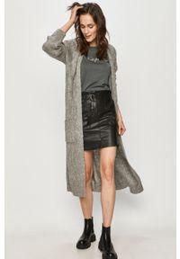 Szary sweter rozpinany Answear Lab wakacyjny, długi, z długim rękawem, na co dzień