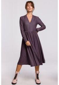 e-margeritka - Sukienka midi rozkloszowana z dekoltem V - 38. Typ kołnierza: dekolt w serek. Materiał: dzianina, materiał, poliester, bawełna, elastan. Styl: elegancki. Długość: midi