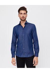 FAY - Granatowa koszula jeansowa. Okazja: na co dzień. Kolor: niebieski. Materiał: jeans. Długość: długie. Styl: sportowy, casual