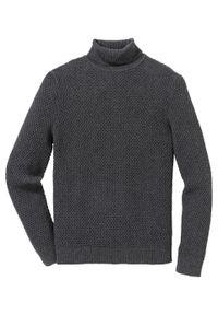 Szary sweter bonprix z golfem, melanż