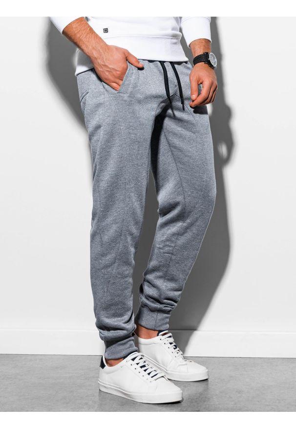 Ombre Clothing - Spodnie męskie dresowe joggery P867 - szare - XXL. Kolor: szary. Materiał: dresówka