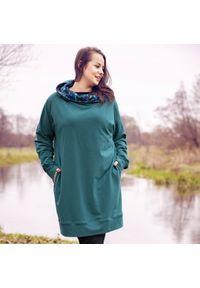 Zielona bluza Moda Size Plus Iwanek na zimę, krótka, elegancka
