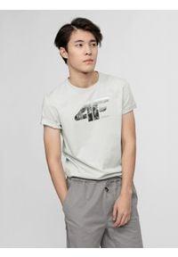 4f - T-shirt męski. Kolor: szary. Materiał: dzianina