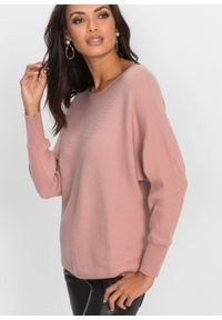 Różowy sweter bonprix w prążki, z dekoltem w łódkę