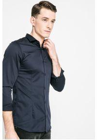 Niebieska koszula Premium by Jack&Jones z włoskim kołnierzykiem, długa, gładkie, elegancka