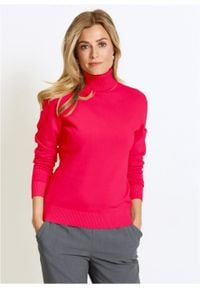 Sweter z golfem bonprix czerwień granatu. Typ kołnierza: golf. Kolor: czerwony. Materiał: ze splotem, dzianina. Długość rękawa: długi rękaw. Długość: długie. Wzór: gładki