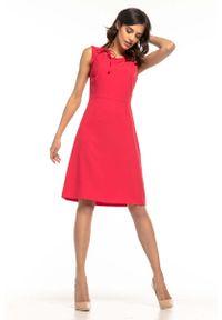 Różowa sukienka wizytowa Tessita bez rękawów, wizytowa, trapezowa